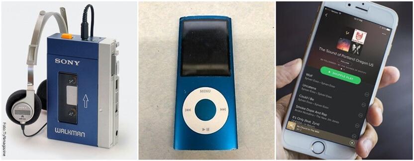 Walkman reemplazado por iPpode que a su vez fue reemplazado por plataformas como Soptify