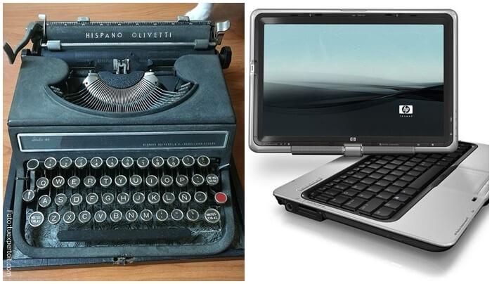 Máquina de escribir reemplazada por pc's.