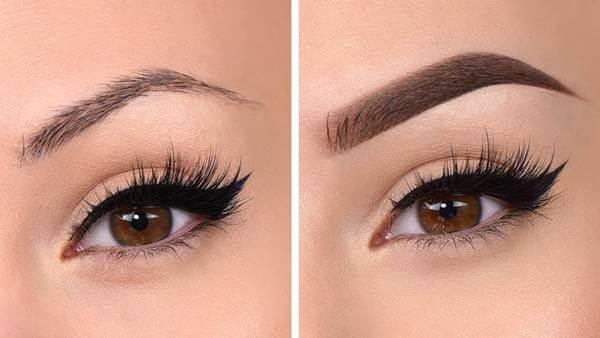 Foto antes y después de perfilar las cejas