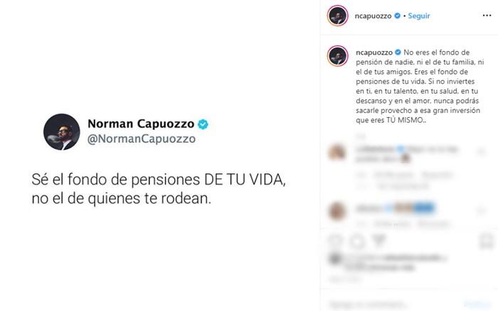 Mensaje de Norman Capuozzo a Lina Tejeiro