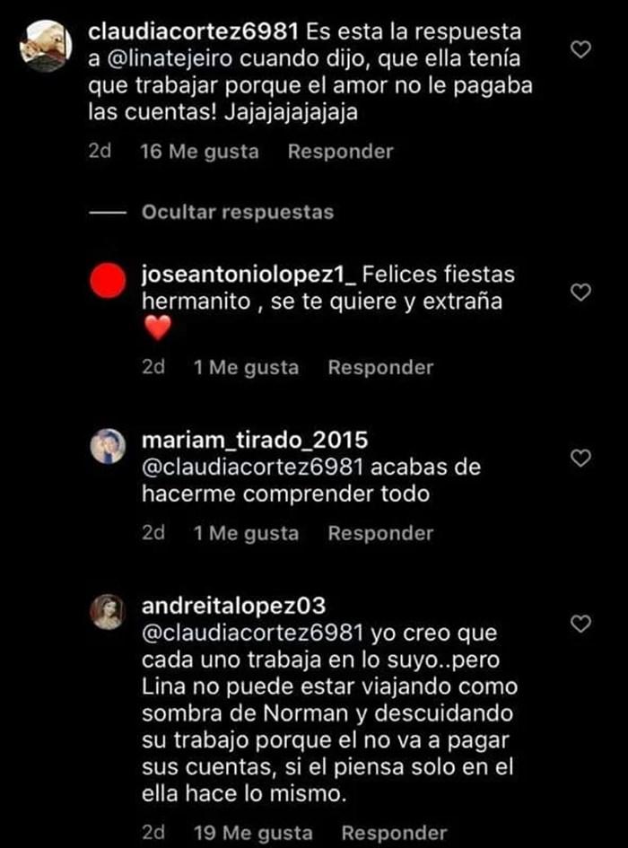 Comentarios sobre la relación de Lina Tejeiro y Norman Capuozzo