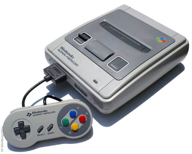 Consola de Super Nintendo de los 80.