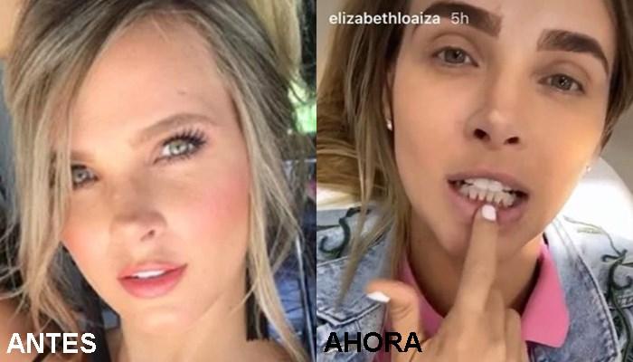 Elizabeth Loaiza cejas antes y ahora