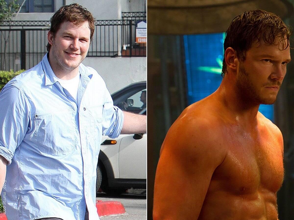 Chris Pratt antes con sobre peso vs. ahora después de ejercitarse.