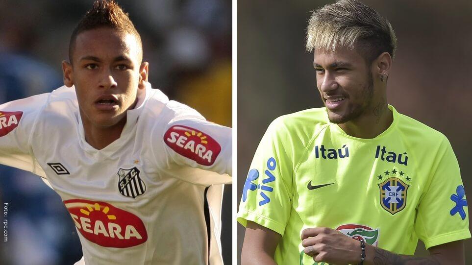 El futbolista Neymar Silva antes vs ahora.