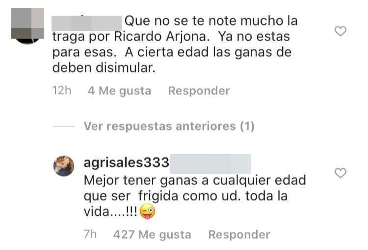 Print de pelea en redes de Amparo Grisaales con televidente