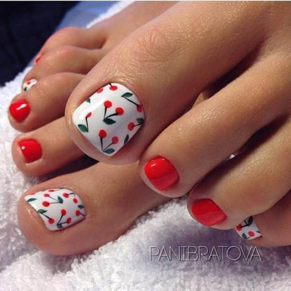 Foto de pedicure color cereza