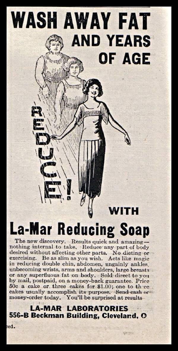 Imagen de periódico antiguo con anuncio de jabón adelgazante
