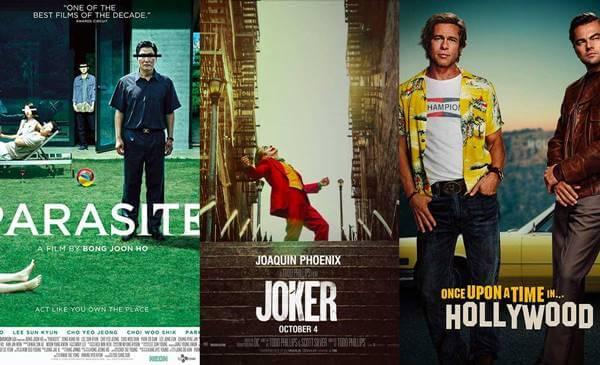 Foto del poster de tres películas: Parásito, Joker y Érase una vez en Hollywood