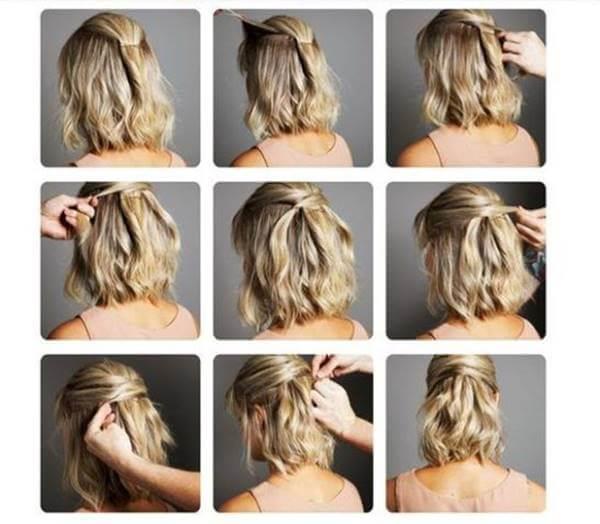 Mosaico de fotos paso a paso de peinado en cabello corto