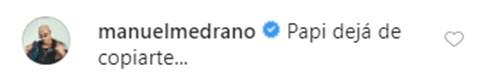 Comentario de Manuel Medrano a Pipe Bueno por su bigote