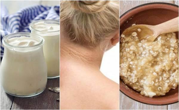 Mosaico de fotos con cuellos de mujer, avena y yogur