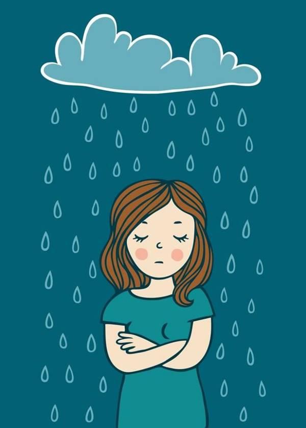 Ilustración de una mujer debajo de una nube y está lloviendo