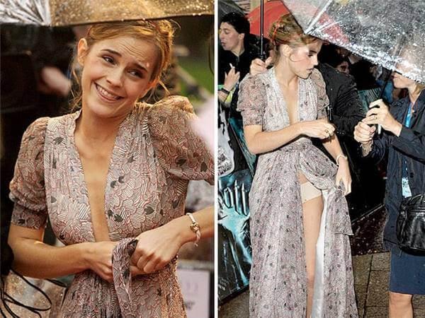 Foto de Emma Watson poniéndose el vestido que se le desamarró