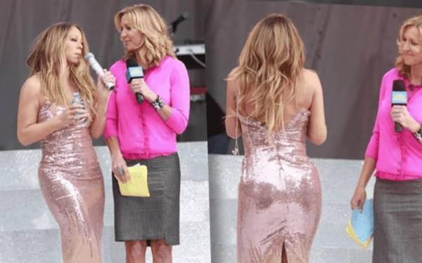 Foto de Mariah Carey con el vestido sin cerrar en la espalda