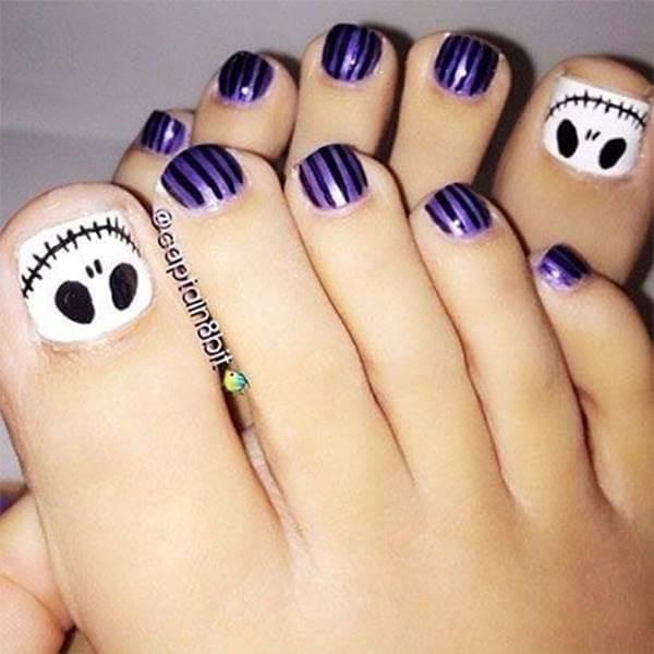 Foto de pedicure El extraño mundo de Jack, uno de los diseños de uñas para pies juveniles