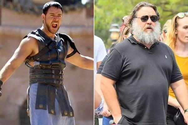 Foto antes y después de Russell Crowe