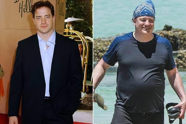 Famosos que engordaron de forma increíble: Foto antes y después de Brendan Fraser