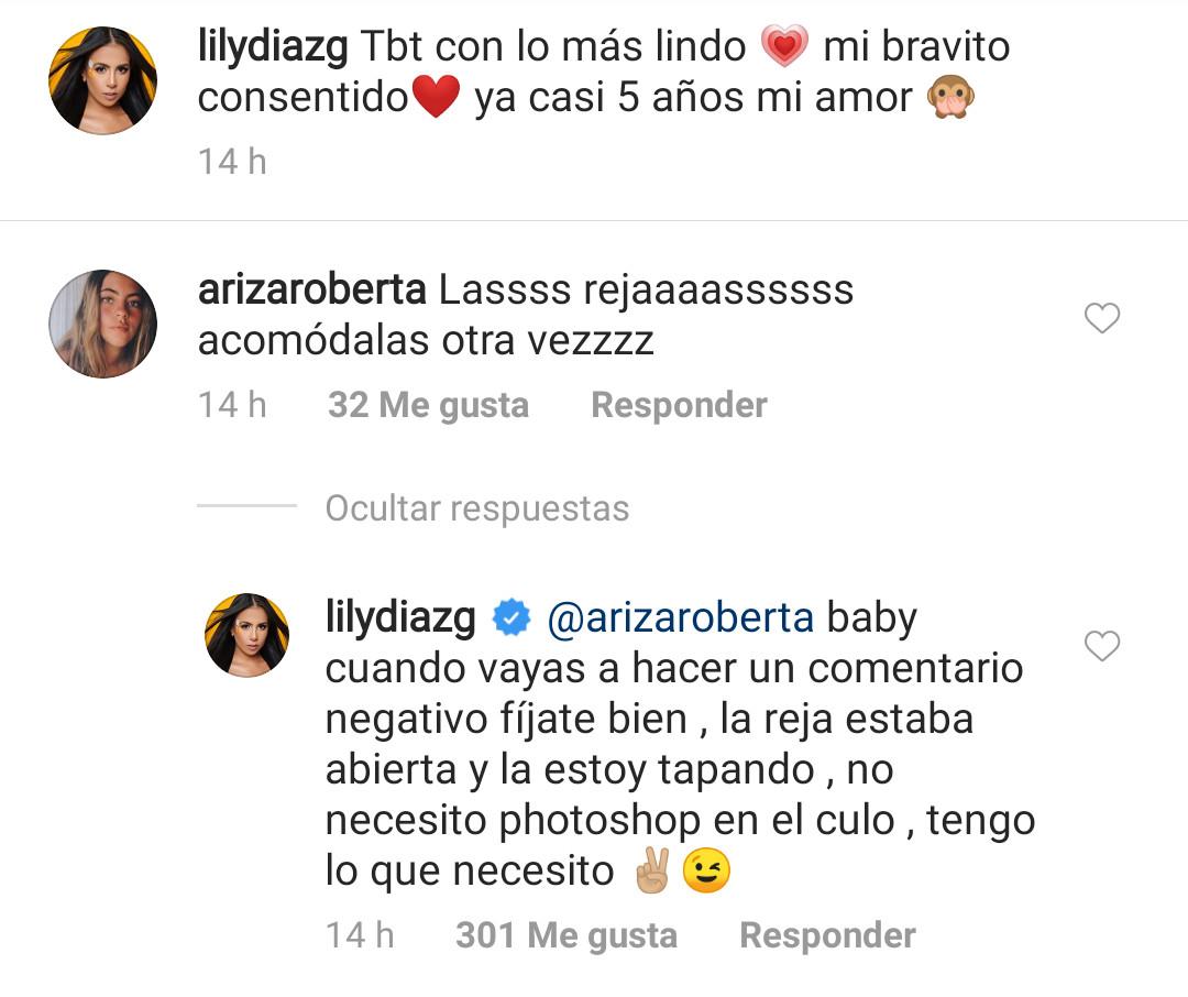Print de la respuesta de Betsy Liliana en su cuenta de Instagram