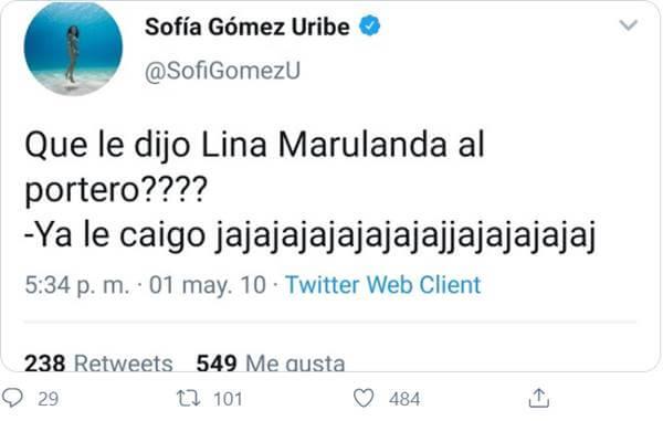 Print del Twitter de Sofía Gómez