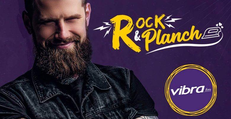 Imagen con logo de vibra, modelo rockero y texto Rock and Planch