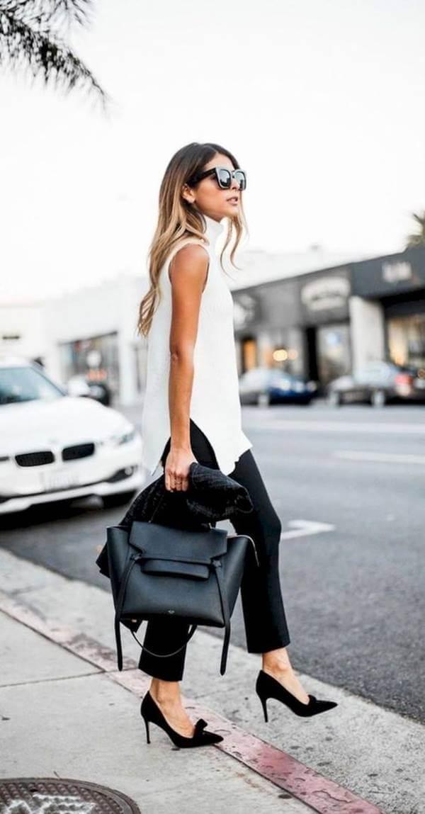 Foto de chica vestida de blanco y negro