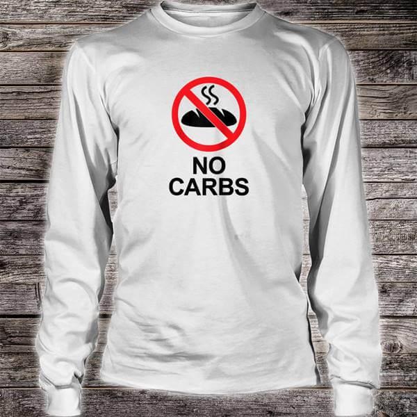 Camiseta de dice NO CARBS