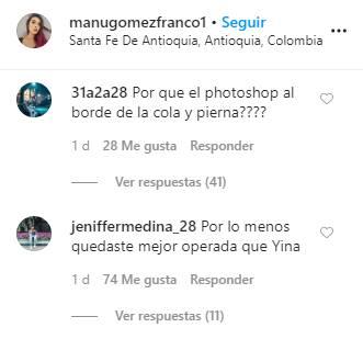 Comentarios en los que comparan a Manuela con Yina