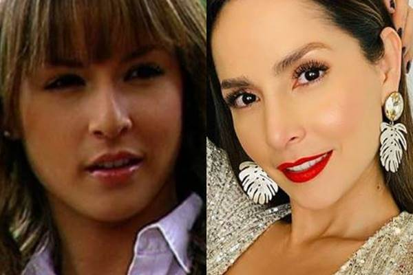 Foto mosaico comparando a Carmen Villalobos antes y después