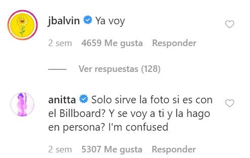 Comentarios de JBalvin y Anitta a Maluma
