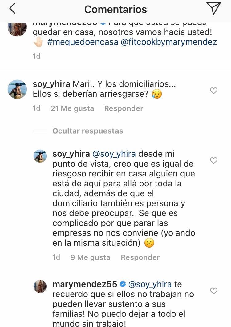 Respuesta de Mary Mendez a seguidora que la criticaba por su opción de domicilios en su panadería saludable