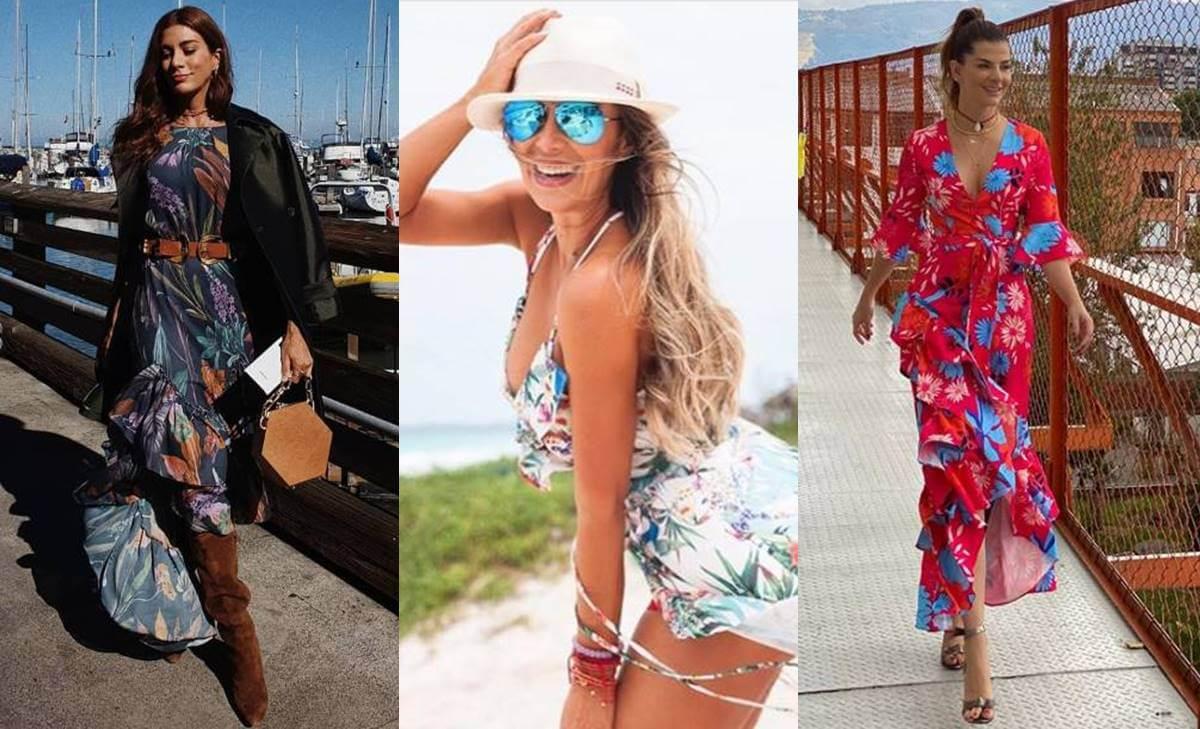 Vestidos de flores de moda entre las famosas colombianas