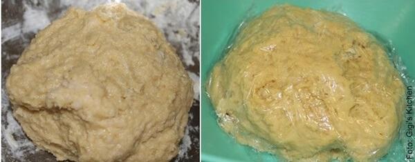 Foto de masa para bueñuelos sin y con papel Vinipel, para receta de buñuelos dulces y fritos