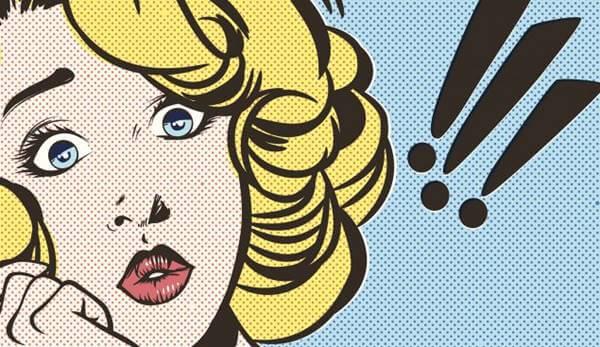 Ilustración cómic de mujer sorprendida