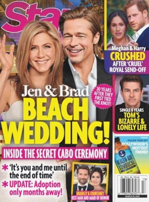 Foto de portada de revista Star con Jennifer Aniston y Brad Pitt