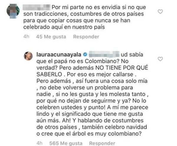 Print de comentarios de Instagram de Laura Acuña