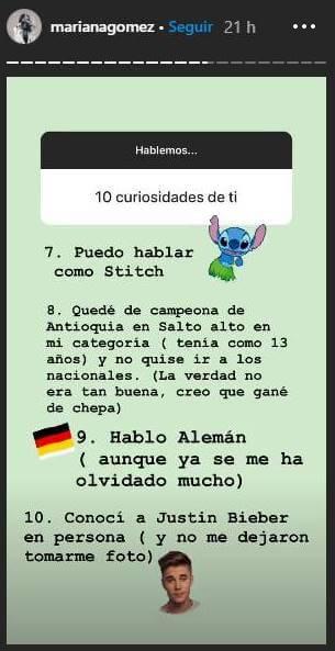 Print de pantalla del Instagram de Mariana Gómez