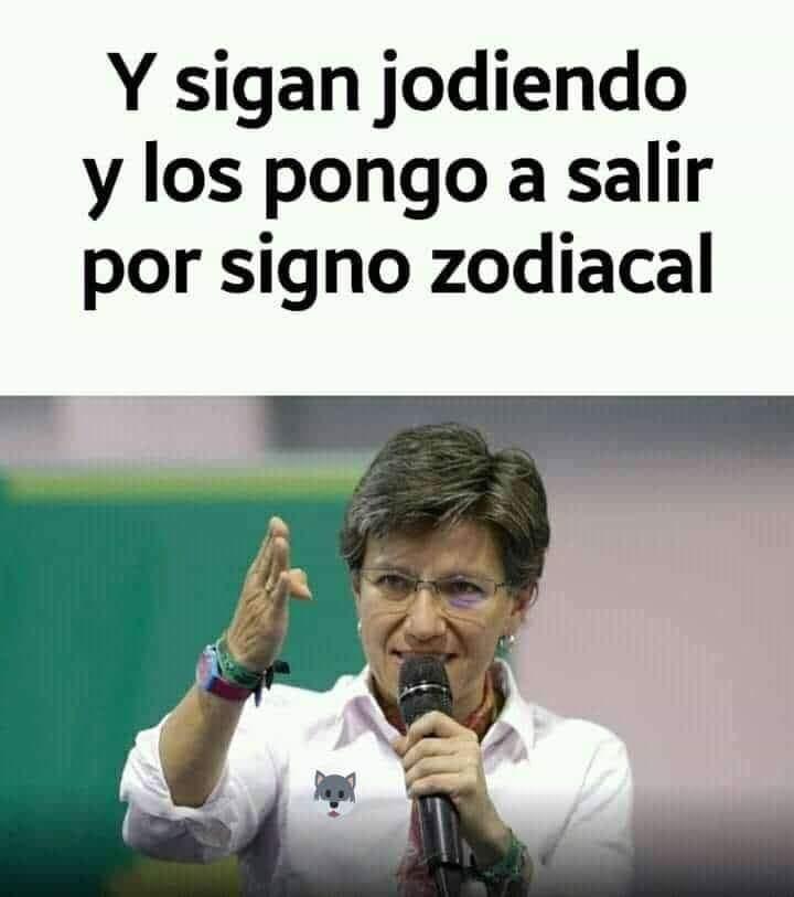 Meme de Claudia López y signo Zodiacal