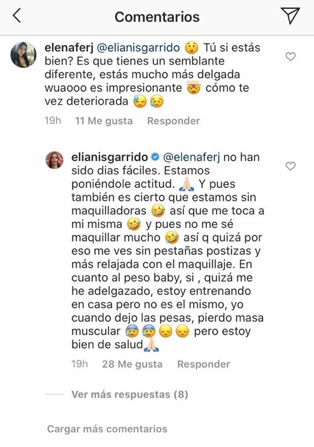 La presentadora Elianis Garrido le explica a una de sus seguidoras el por qué de su aspecto físico.