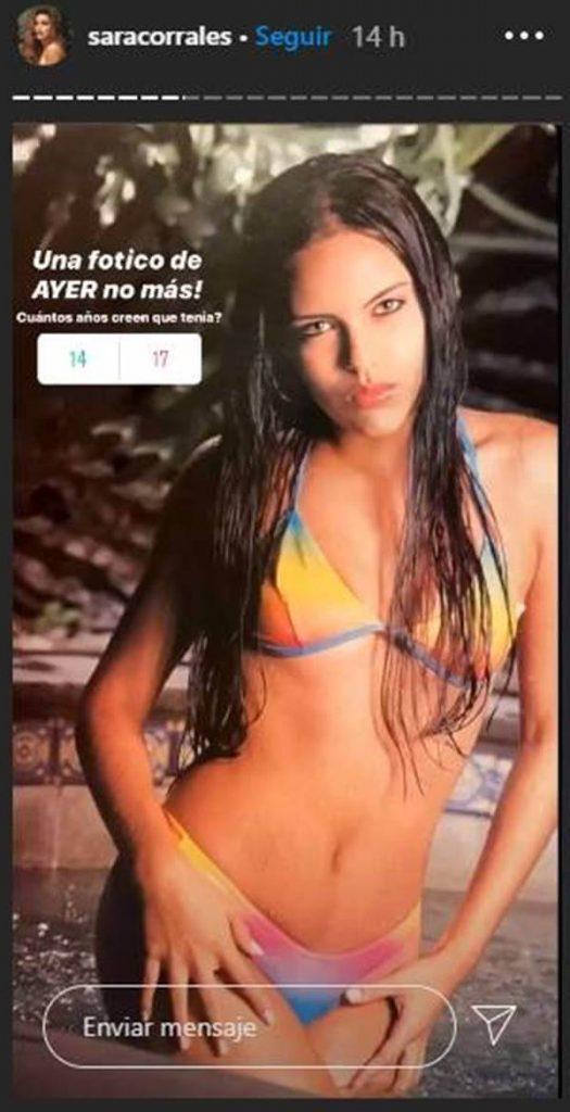 Foto de Sara Corrales adolescente y en bikini