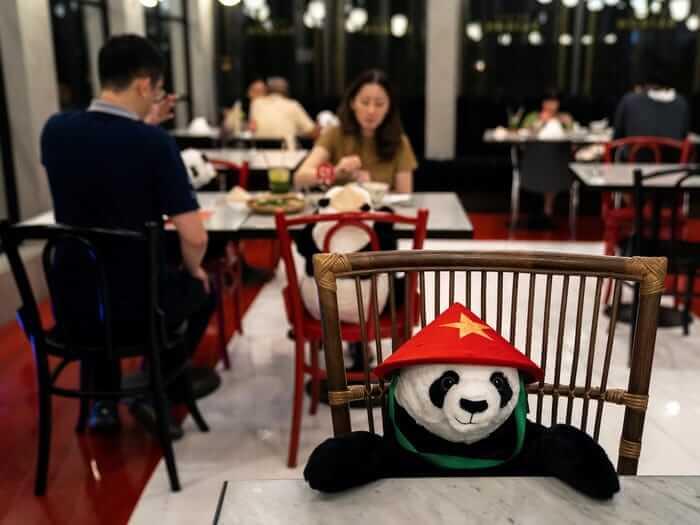 Foto de osos panda sentados en las mesas de restaurantes