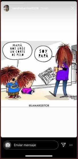 Print de Instagram de Sandra Barrios con chiste sobre cortes de pelo en cuarentena