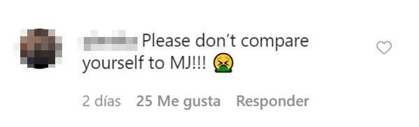 Print de pantalla de comentario en Instagram de Maluma