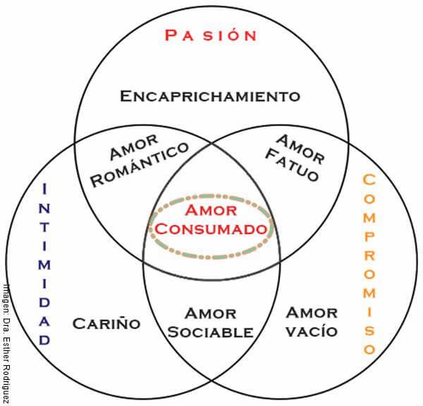 Imagen ilustrando la Teoría Triangular del Amor