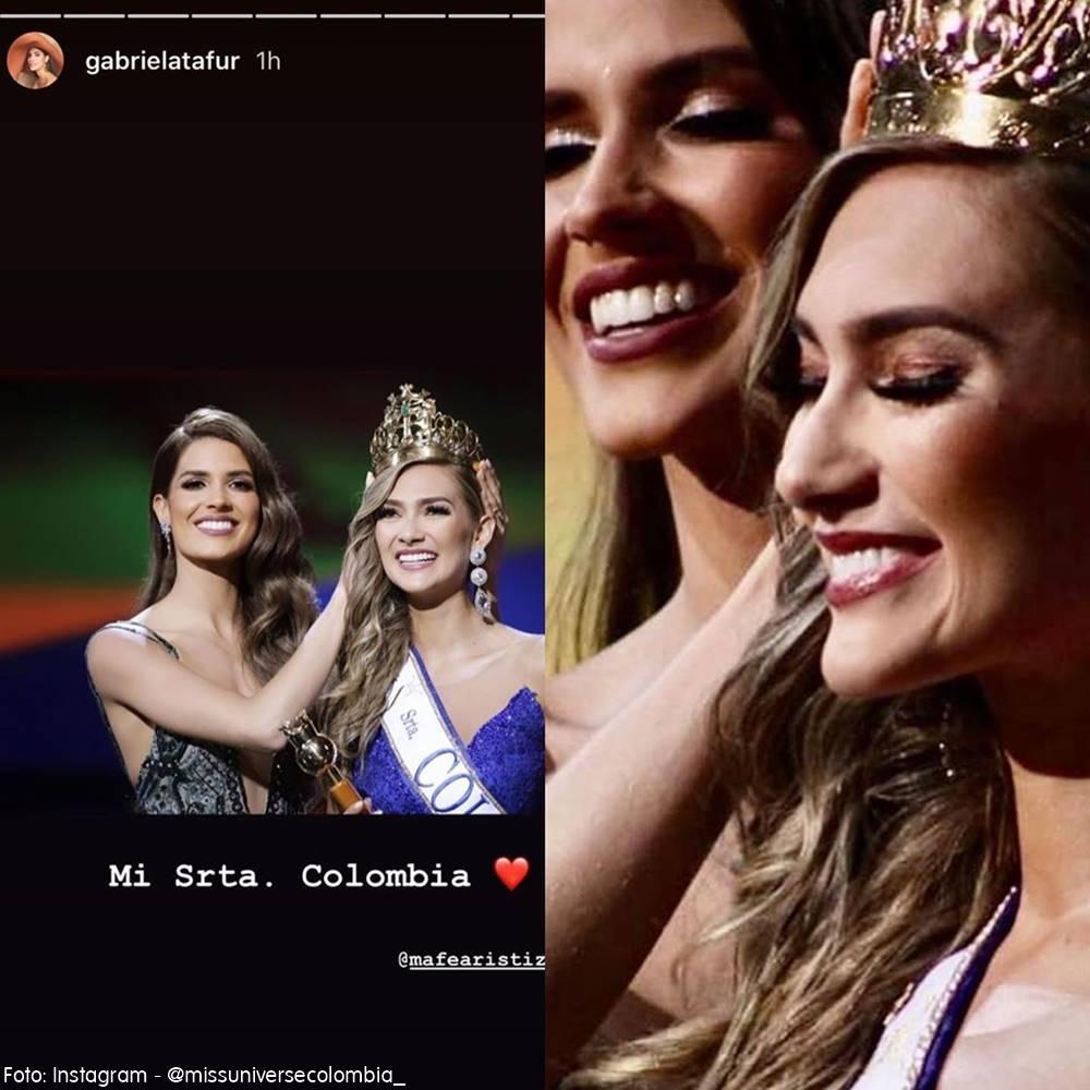 Gabriela Tafur entregando la corona a la nueva reina María Fernanda Aristizabal