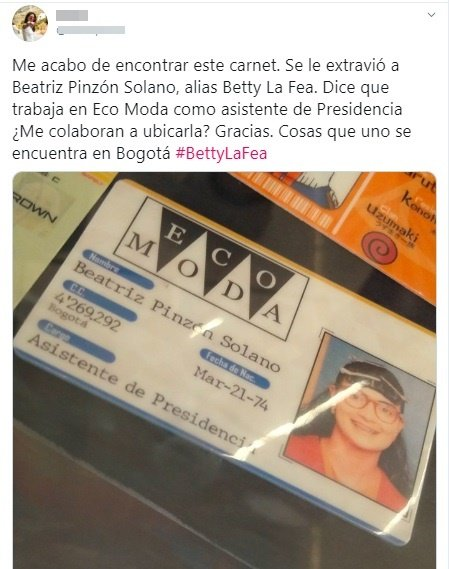 Credencial de Beatriz Pinzón como empleada de Ecomoda.