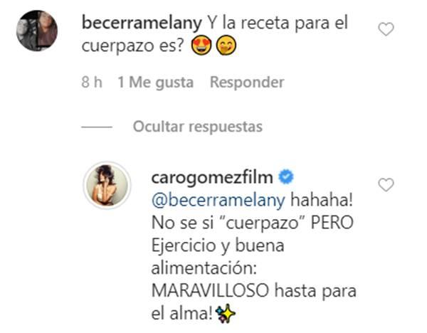 Print del Instagram de Caro Gómez