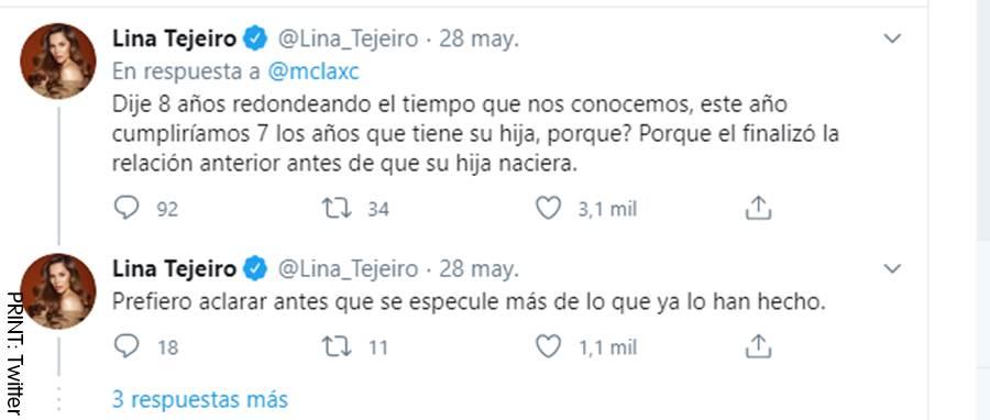 Respuesta de Lina Tejeiro en Twitter sobre el tiempo de la relación con Andy Rivera