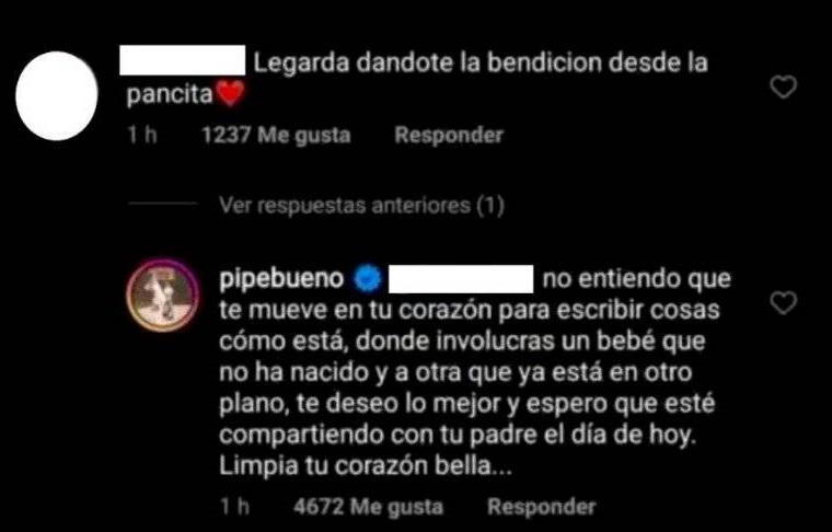 """Comentario de seguidora de Pipe Bueno en el que dice que Legarda le da la bendición desde """"lapancita"""", a lo que el cantante responde diciendo que debe limpiar su corazón."""