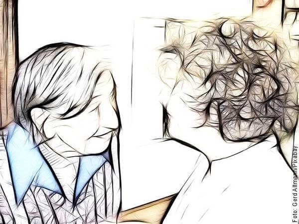 Ilustración de dos personas hablando